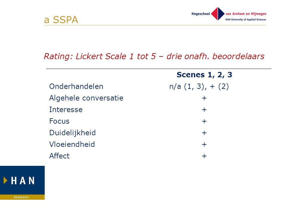 a SSPA ] Rating: Lickert Scale 1 tot 5 – drie onafh. beoordelaars